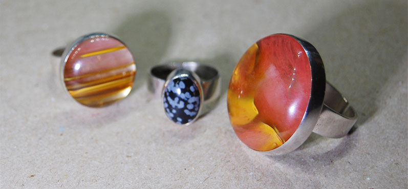 Sterling silver rings with a variety of stones
